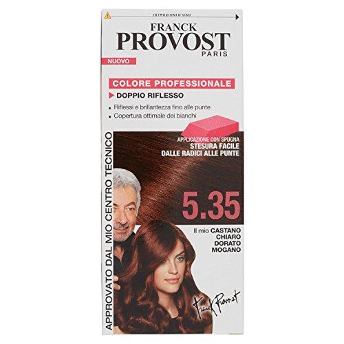 Franck provost colorazione permanente capelli, tinta copertura ottima, colore professionale, 5.35 castano chiaro dorato mogano