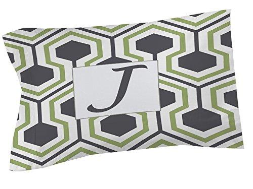 Ikat-sham (Manuelle holzverarbeiter & Weavers Kissen Sham, Standard, Monogramm Buchstabe J, grau Honeycomb)