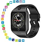 LayOPO Q18S Smartwatch mit HD-Kamera NFC Bluetooth Smartwatch Wasserdicht Sport Smart Fitness Tracker Armbanduhr mit SIM-Kartenschlitz für Android iOS Handy Schwarz
