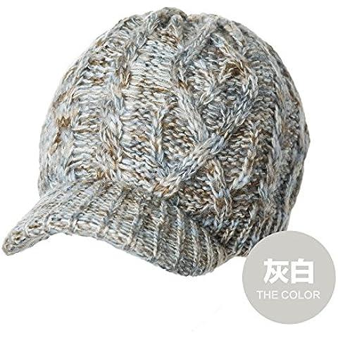YangR*CAPS Invierno niños sombreros tejidos cálidos marea gruesa elegantes boinas teje paraviento cap , Gris