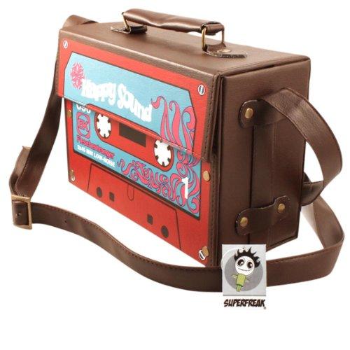 """Superfreak® Tasche """"Kofferradio - Happy Sound Kassette"""" Tape°Boombox°Radiotasche, alle Farben braun-dunkel"""
