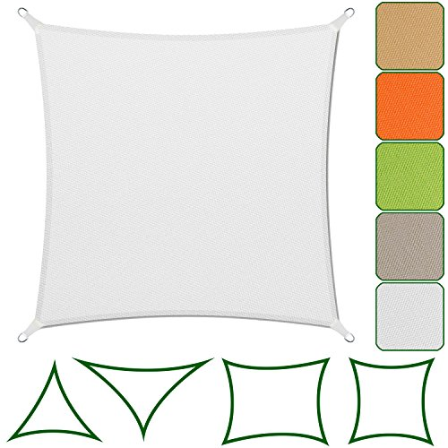 Sonnensegel für Garten, Balkon und Terrasse | dicke Premium Qualität | wetterbeständig und atmungsaktiv | große Auswahl an Formen, Größen und Farben | Quadrat Weiß 3x3 m (Weiß Elfenbein Leinen)