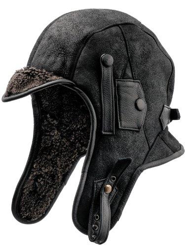 sterkow Trapper Bonnet de ski en cuir véritable d'agneau Bonnet aviateur Charbon