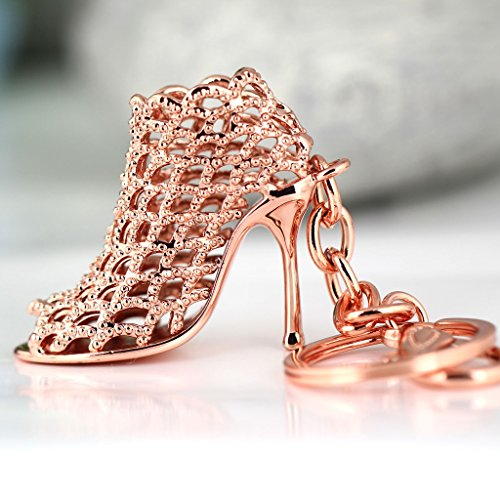 Preisvergleich Produktbild Maycom® High-heeled Shoe Keychain Creative Fashion Refinement Lady Gift Hollow Shoes Keyring Key Chain Ring Keyfob 86113 (Rose Gold) by Maycom