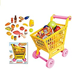 FunBlast Supermarket Shopping Cart for Kids, Set of 36 Pcs, Supermarket Set for Kids, Pretend Play Toy Grocery Cart