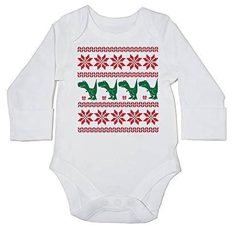 hippowarehouse Dinosaurier Weihnachten Muster Baby Body (Langarm) Jungen Mädchen Gr. 12-18 Monate, weiß