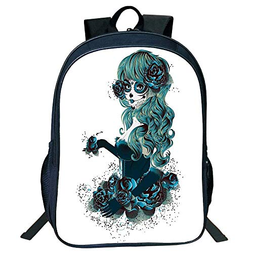 ylish Unisex School Students Skull, Sugar Skull Girl Day The Dead Bride Dark Color Roses Graphic Decorative,Petrol Blue White Kids, ()