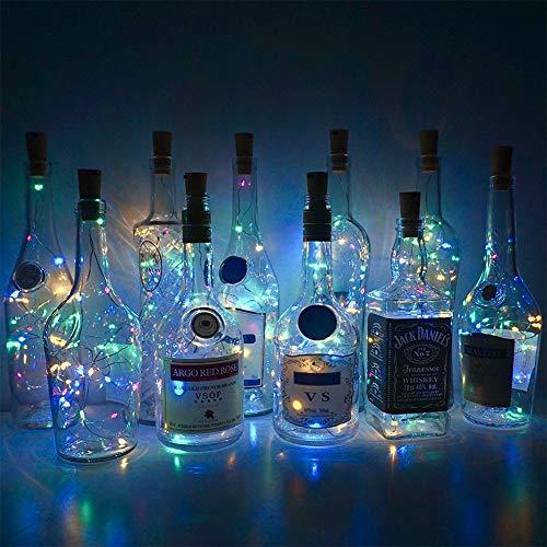 20 LED Wein Glas Flasche Lichter Kork Batteriebetriebene Sternen DIY Weihnachten Lichterketten Für Party Halloween Hochzeit Decoracion
