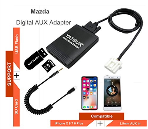 Mazda iPhone Stereo Aux Adapter, KFZ Digital Audio-Eingang Interface mit SD-Karte, iPod MP3 USB, 3,5 mm AUX IN, Lighnting Musik Player für MAZDA (ohne Navi) 2003-2011 (M06-MAZ1) - Touch-wechsler Ipod