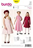 Burda 9431 Schnittmuster Kleid mit Kellerfalten (kids, Gr. 116-146) Level 2 leicht