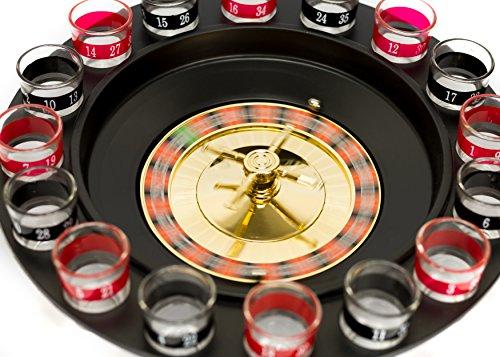 Trendario-Party-Trinkspiel-Roulette-mit-16-Schnapsglser-2-Kugeln-Roulettespiel-fr-Erwachsene-Saufspiel