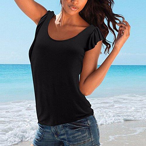 volants plisses manches courtes moulantes hauts equipes chemisiers Tee T-shirt femmes solide Noir