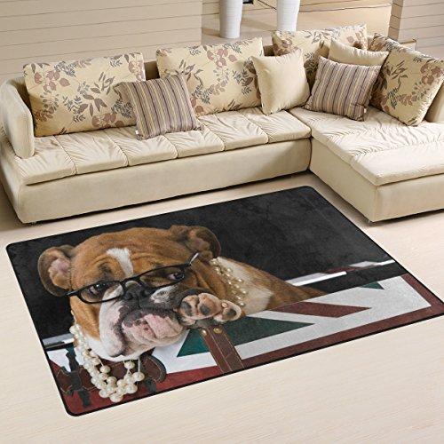 Use7 Rutschfeste Fußmatte mit englischer Bulldogge und britischer Flagge, für Wohnzimmer, Schlafzimmer, 50 x 80 cm -