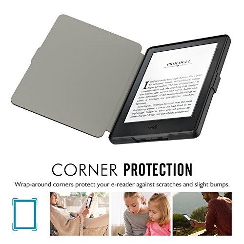 MoKo Étui de protection pour Kindle (8ème génération - modèle 2016) - étui Flip en cuir super fin et léger avec Auto Réveil / Veille pour Amazon Toute nouvelle Liseuse Kindle, Noir 1-Nior
