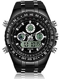 Montre numérique pour hommes analogiques analogiques étanches et multifonctions à l'extérieur LED double affichage électronique de luxe montres-bracelets