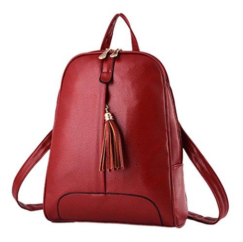 YR.Lover Frauen hohe Kapazität Rucksack Fashion Freizeit PU Leder Tote Schulter Wine Red