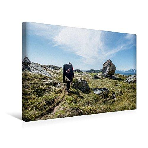 Calvendo Premium Textil-Leinwand 45 cm x 30 cm quer, bouldern in Henningsvaer, Lofoten, | Wandbild, Bild auf Keilrahmen, Fertigbild auf echter Leinwand, Leinwanddruck Sport Sport