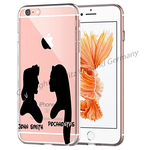 Blitz® Silhouette motifs housse de protection transparent TPE iPhone Peter Pan et Wendy M15 iPhone 6 6s Pocahontas et Prince M14