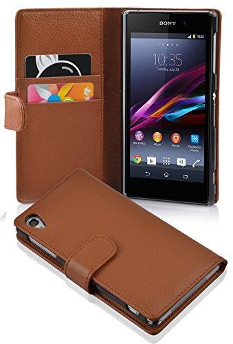 Cadorabo Hülle für Sony Xperia Z1 - Hülle in COGNAC BRAUN – Handyhülle mit Kartenfach aus struktriertem Kunstleder - Case Cover Schutzhülle Etui Tasche Book Klapp Style