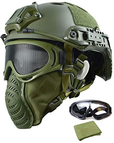 QHIU Taktische Helm Leichtbau Einstellbar Schnelle Armee Militär Combat Schutz Helm mit Schutzbrille und Maske für Softair ()