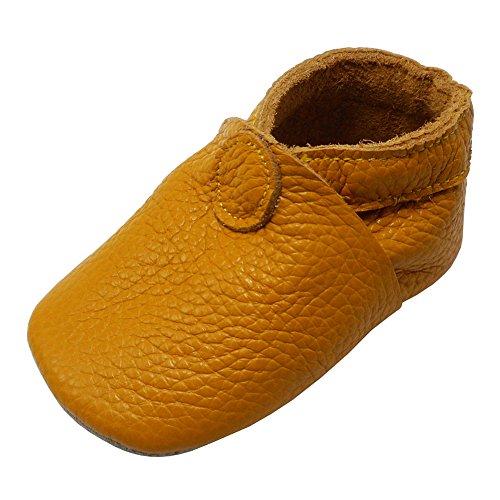 YIHAKIDS Weiche Sohle Krabbelschuhe Babyschuhe Kleinkind Lauflernschuhe Lederschuhe Hausschuhe(Dunkelorange,12-18 Monate)