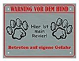 Hundeschild Warnung Vor Dem Hund - Hier ist mein Revier, mit 4 Eckbohrungen