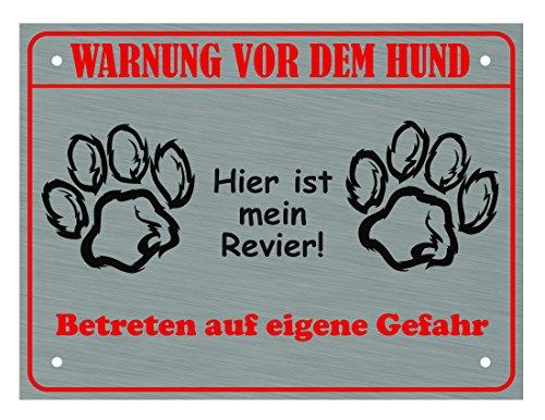 LUGUNO Hundeschild Warnung Vor Dem Hund - Hier ist Mein Revier (mit 4 Eckbohrungen) Schild Hund