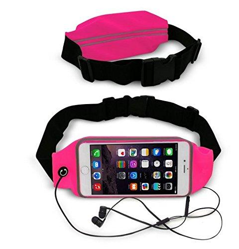 Theoutlettablet® Cinturón - Riñonera deportivo para running - correr - impermeable al sudor y Reflectante con bolsillo para transporte Smartphone Microsoft Lumia 550 COLOR ROSA (S)