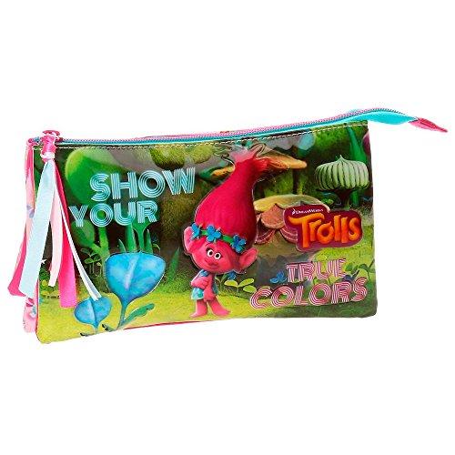 Trolls True Colors Neceser de Viaje, 22 cm, 1.32 Litros, Multicolor