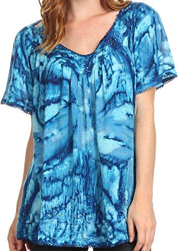 Sakkas 16780 - Laylah lange, breite kurze Hülsen-Stickerei-Spitze Paillette Bluse Shirt Tunika-Oberteil - Blau - OS (Weiße Baumwoll-kleid Für Tie Dye)