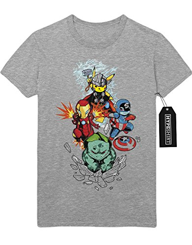 T-Shirt Pokemon Go Pikachu The Avengers Cross Over Hulk Iron Man Captain America Thor Team Rocket Jessie James Mauzi Kanto 1996 Blue Version Pokeball Catch 'Em All Hype C210017 Grau M