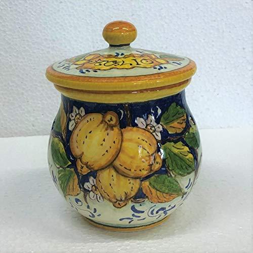 CERAMICHE D\'ARTE PARRINI- Italienische Kunstkeramik, jar Knoblauch Dekoration Zitronen, handgemalt, hergestellt in Italien Toscana