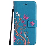 Roreikes Apple iphone 7 Plus Hülle, Slim Retro Schmetterling und Blume PU Leder Bookstyle Handyhülle Tasche Flip Wallet Case mit Strap Portable Handytasche Anti-Scratch Shell Cash Pouch ID Card Slot Magnetverschluss Etui Soft Silikon Back Cover Folio Schale Schutzhüllen für Apple iphone 7 Plus (5,5 Zoll) - Blau