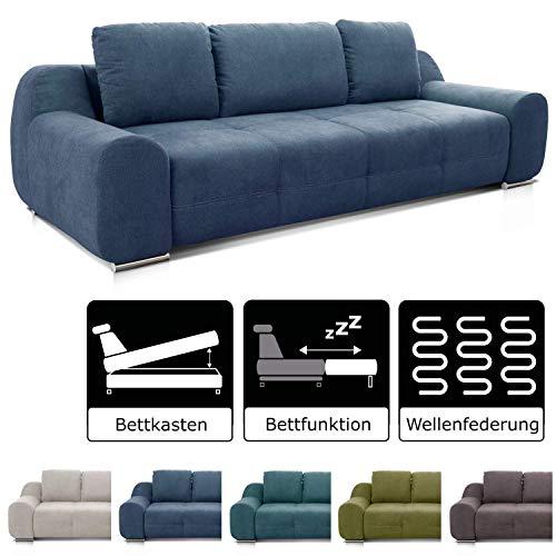 Cavadore Big Sofa Benderes / Schlafsofa mit Bettfunktion und Bettkasten/ Moderne Couch mit Steppung und Ziernaht / Inkl. 3 Kissen / Chromfüße / 266 x 70 x 102 (BxHxT) / Blau
