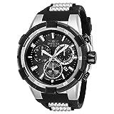Invicta Aviator Black silicone Band Steel case Quartz Analog Watch 25860