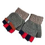 EZSTAX Unisex Jungen Mädchen Halbfinger Handschuhe fingerlose Handschuhe warme halbe Finger Strick Handschuhe mit Flip Top,Oliv