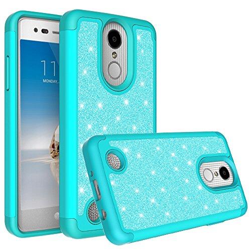 LG K30Fall (X410), LG K102018Fall (MS425) mit [HD Displayschutzfolie] Diamant Glitzer Hybrid Hülle Schutzhülle Case Cover, Mint -