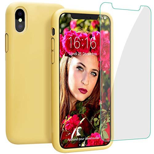 JASBON Coque iPhone XS Plus Coque Silicone Liquide avec Protecteur d'écran Gratuit, Housse Etui de Protection Anti Choc GelCase pour iPhoneXS Plus – Noir