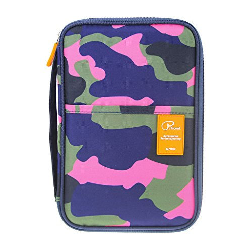 FakeFace Travel RFID Blocking Passport Wallet Purse ID Cards Document Organizer Holder Carry-all Clutch Bag with iPad Tablet Phone Holder Case Handbag Document Bag with Handle, Camouflage, Size 250*170*20MM