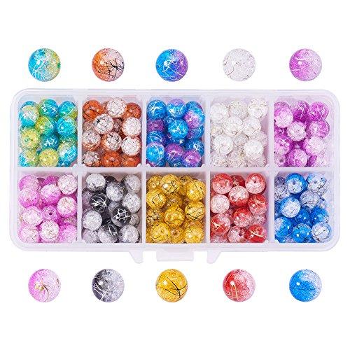 NBEADS A Box Of 250pcs sortiert Farben, Crackle Bergkristall rund Glas Perlen 8mm für Schmuckherstellung (Crackle Glas Ornament)