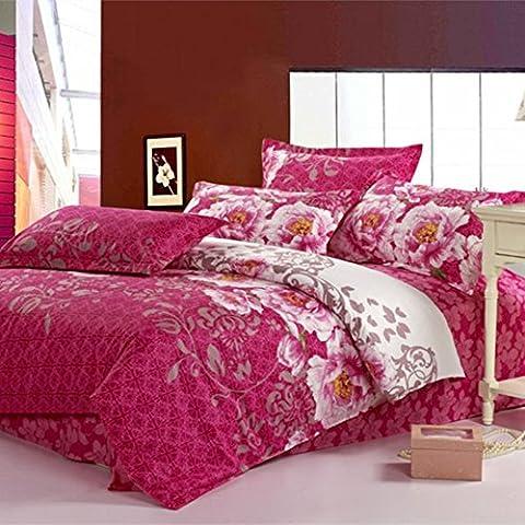 Ensemble de literie simple et confortable Rouge vert Literie imprimée Four Set Cotton Twill Denim Literie haute densité en coton facile à utiliser Textile AB Version GHY-4-Piece Beding Set ( Couleur : Rouge )