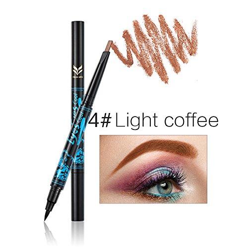 Ladygo 2 en 1 Crayon à sourcils automatique avec Eyeliner Ensemble de maquillage imperméable à la longue durée, Light Brown-4 #