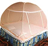 #3: Healthy Sleeping Foldable Polyester Double Bed Mosquito Net - Embroidery (Badam Pink)