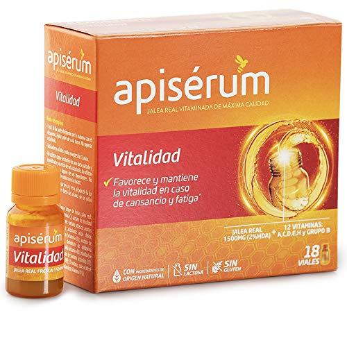 Apisérum Vitalidad Viales bebibles - Favorece y mantiene la vitalidad en caso de cansancio y fatiga - Multivitamínico con Jalea Real y Vitaminas A,C,D,E,H y grupo B - Tratamiento para 18 días