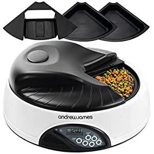 Andrew James 4 Meal / Day Programmable Automatic Pet Feeder / Bowl with Voice Recorder Includes 2 X Volume Reducers + 1 X Adapter Tray