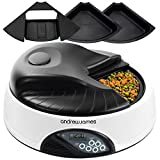 Andrew James 4 Meal / Day Programmable Automatic Pet Feeder / Bowl with Voice Recorder Includes 2 X Volume Reducers + 1 X Adapter Tray (White Granite)