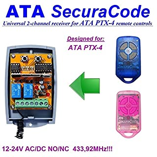 Universal 4-ATA PTX SecuraCode 433.92MHz 2-Channel Receiver for rolling &fixed code 12-24 V DC, COM/N.O