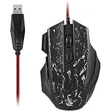 AUKEY Mouse da Gaming USB Ottico DPI 1000 - 3200 7 Keys Filo Nylon Intrecciato Design Ergonomico per Giocatore Professionale con 7 Colori LED (Nero)