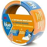 Scotch Blue 80EU3625 Malerabdeckband (Malerkrepp) optimale Klebkraft auf empfindlichen Oberflächen, 36 mm x 25 m, blau