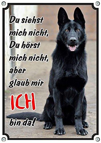 Petsigns Hundeschild Deutscher Schäferhund schwarz - Metallschild in 1a Fotoqualität, 2. DIN A4